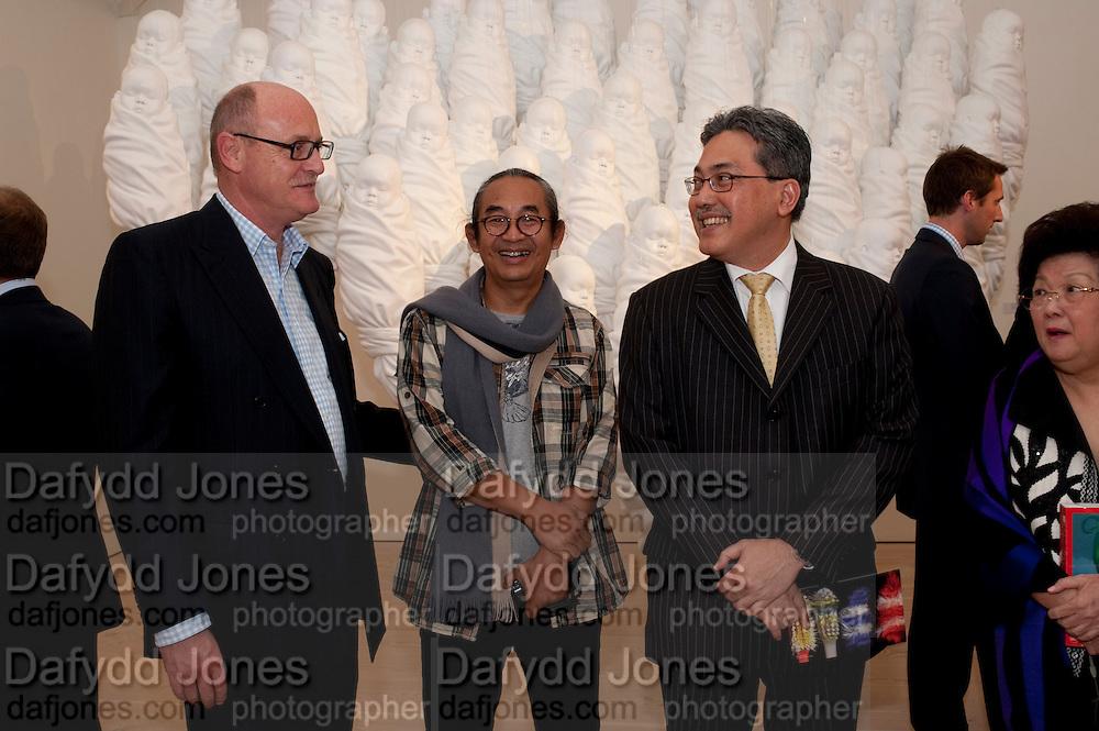 DAVID CICLITIRA; Haris Purnomo; Yuri O Thamrin; Indonesian Ambassador, Indonesian Eye Contemporary Art Exhibition Reception, Saatchi Gallery. London. 9 September 2011. <br /> <br />  , -DO NOT ARCHIVE-© Copyright Photograph by Dafydd Jones. 248 Clapham Rd. London SW9 0PZ. Tel 0207 820 0771. www.dafjones.com.