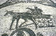 Roman cart.  Mosaic from the Frigidarium, Ostia, Italy.