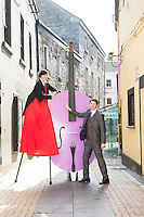 08/09/2014 Repro Free  Beau Holland, stiltwalker at the launch of Music for Galway's 34th International Concert Season.  <br /> Picture:Andrew Downes
