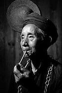 Kaili, Guizhou, China, August 10th 2007: Portrait of 71 year old Miao village chief..Photo: Joseph Feil