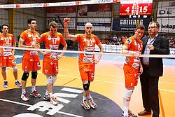 20150501 BEL: Volley Behappy2 Asse-Lennik - Knack Roeselare, Zellik<br />Jasper Diefenbach (10) of Volley behappy2 Asse - Lennik<br />©2014-FotoHoogendoorn.nl / Pim Waslander