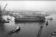 Ship launch at Kvaerner shipbuilding yard, on the River Clyde, Glasgow, Scotland, June 1993.