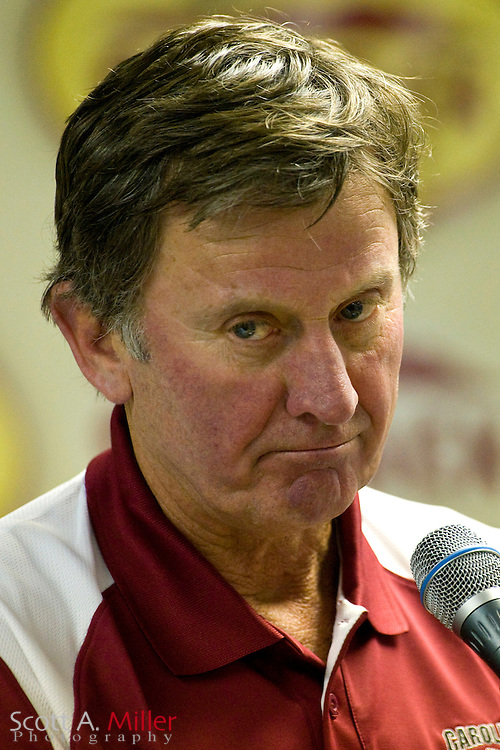 Jan 1, 2009; Tampa, FL, USA; South Carolina Gamecocks coach Steve Spurrier during his press conference following his team's 31-10 loss to the Iowa Hawkeyes in the Outback Bowl at the Raymond James Stadium. ©2009 Scott A. Miller