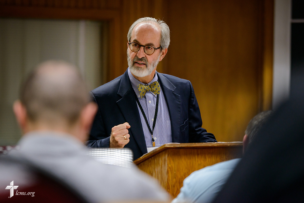 The Rev. Dr. Arthur Just, Jr., new missionary and professor at Concordia Theological Seminary, Fort Wayne, Ind., leads a workshop at the 2017 Institute on Liturgy, Preaching and Church Music on Tuesday, July 25, 2017, at Concordia University Chicago in River Forest, Ill. LCMS Communications/Erik M. Lunsford