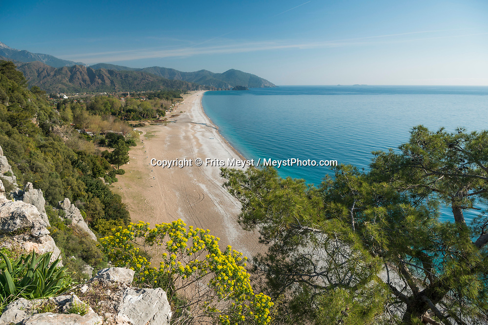 Olimpos, Cirali, Antalya, Turkey, April 2017. Olympos was an ancient city in Lycia. It was situated in a river valley near the coast. Its ruins are located south of the modern town Çıralı in the Kumluca district of Antalya Province, Turkey.  With its many small bays along the rugged  mediterranean coast, and a great safety standard, Turkey is well suited for camper tourism. Photo by Frits Meyst / MeystPhoto.com