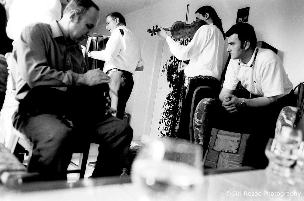 CZECH REPUBLIC MORAVIA BANOV 1APR02 - Folk musicians Jiri and Jan Chovanec perform during traditional Easter Monday celebrations in their village....jre/Photo by Jiri Rezac..© Jiri Rezac 2002..Tel/Fax: +44 (0) 20 8968 9635.Mobile: +44 (0) 7801 337 683..Email: jiri@jirirezac.com.Web: www.jirirezac.com..All pictures © Jiri Rezac 2002. All rights reserved.