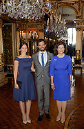 Stockholm, 27-08-2015<br /> <br /> Queen Silvia,Prince Carl Philip and Princess Sofia attend the opening of the Princess Lilian exhibition &quot;The Lilian Look&quot; at the Royal Palace of Stockholm<br /> <br /> <br /> Photo:Royalportraits Europe/Bernard Ruebsamen