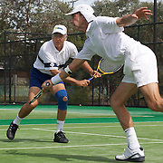 Armistead Neely, USA, (left) and Brian Cheney in action against Spain in the Von Cramm Cup Final during the 2009 ITF Super-Seniors World Team and Individual Championships at Perth, Western Australia, between 2-15th November, 2009.