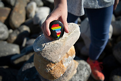 Rock artist Lara Thompson's daugther Shae, 12, demonstrates how they hide her mother's rocks for people to find near Slangkop light house in Kommetjie, Cape Town, Thursday, July 17, 2020. PHOTO: EVA-LOTTA JANSSON