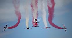 06.09.2015, Airbase, Rivolto, ITA, Payerne, Flugshow anlässlich des 55. Geburtstag der Frecce Tricolori, im Bild Patrulla Aguila (E) // during the Airshow on the occasion of the 55th anniversary of the Frecce Tricolori at the Airbase in Rivolto, Italy on 2015/09/06. EXPA Pictures © 2015, PhotoCredit: EXPA/ Eibner-Pressefoto/ Neurohr<br /> <br /> *****ATTENTION - OUT of GER*****