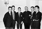 30/03/1963<br /> 03/30/1963<br /> 30 March 1963<br /> Gael - Linn Annual Debating Competition  for Secondary Schools awards presented at the Shelbourne Hotel, Dublin. Fr. MacDurcain and his team of speakers from Colaiste Iarfhlatha, Tuam, Co. Galway.