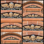 Stonework looking up at side of 19th century building of carved face of angel with wings badly  weathered with pealing paint.<br /> <br /> Carved Face of Angel montage from full frame to largest.
