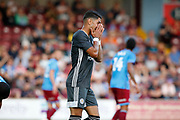 Ayoze Perez of Leicester City shows his frustration after missing the target during the Pre-Season Friendly match between Scunthorpe United and Leicester City at Glanford Park, Scunthorpe, England on 16 July 2019.