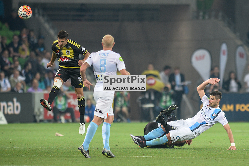 Vince Lia of Wellington Phoenix, Aaron Mooy of Melbourne City, Bruno Fornaroli of Melbourne City, Hyundai A-League, January 25th 2016, RD16 match between Melbourne City FC v Wellington Phoenix FC in a 3:01 win to City  at Aami Park,  Melbourne, Australia. © Mark Avellino | SportPix.org.uk