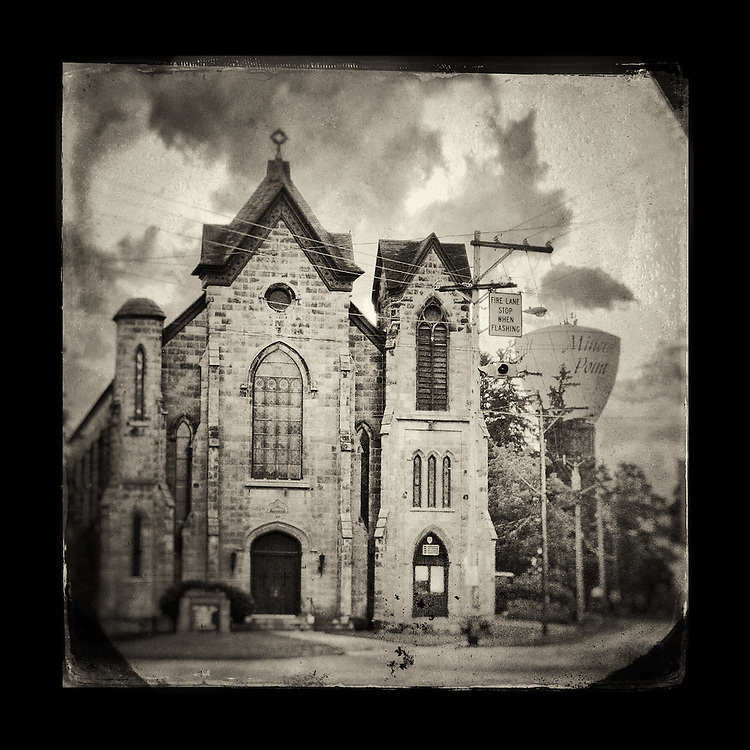 "Charles Blackburn Instagram image of a church and water tower in Mineral Point, WI. 5x5"" print."