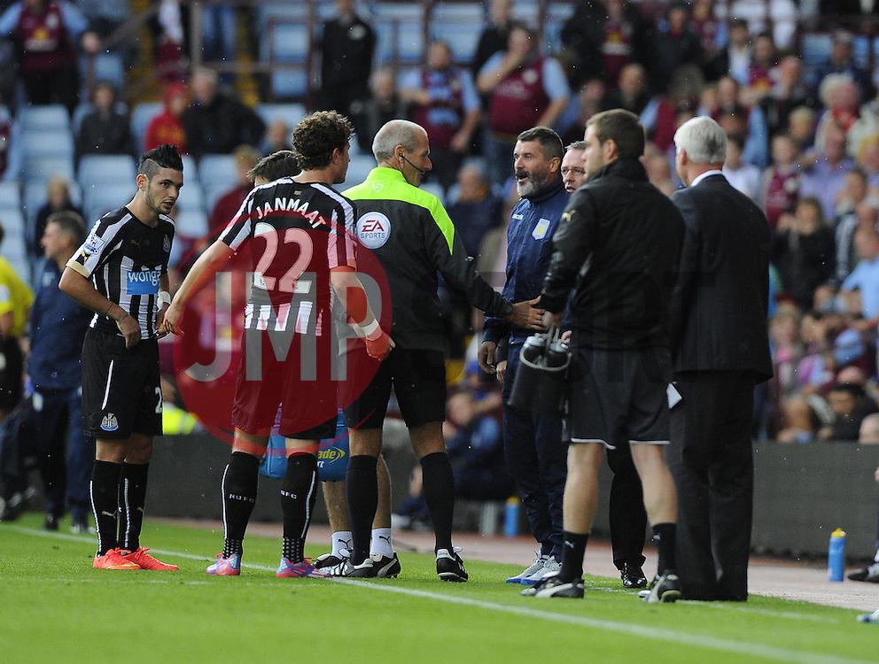 Aston Villa, Assistant Manager, Roy Keane confronts Newcastle United's Daryl Janmaat - Photo mandatory by-line: Joe Meredith/JMP - Mobile: 07966 386802 23/08/2014 - SPORT - FOOTBALL - Birmingham - Villa Park - Aston Villa v Newcastle United - Barclays Premier League