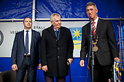 "Czech president Milos Zeman's during his public ""meetings with citizens"" at the village of Brasy located in the Pilsen Region. The mayor of Brasy -  Ing. Mgr. Miroslav Kroc (right). Miloš Zeman (born 28 September 1944) is the third and current President of the Czech Republic, in office since 8 March 2013.  He announced his candidacy for the 2018 presidential elections which will be held in the Czech Republic on 12–13 January."