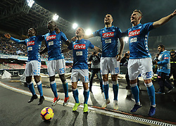 November 2, 2018 - In the picture the Napoli players celebrate the victory with the fans. Italia 2 novembre 2018 allo stadio san Paolo il Napoli vince per 5 a 1 ai danni dell'Empoli. (Credit Image: © Fabio Sasso/ZUMA Wire)