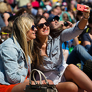 Spectators waiting for the Tour De France at Harrogate, taking a selfie