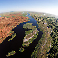 Africa, Botswana, Chobe National Park, Aerial view of Chobe River in Okavango Delta near Ihaha Camp