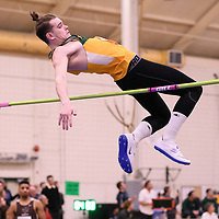 Hayden Schutz in action during the 2018 Canada West Track & Field Championship on February  24 at James Daly Fieldhouse. Credit: Arthur Ward/Arthur Images