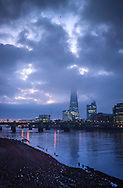 Low cloud this morning over the Shard and River Thames, London, Britain - 25-01-2017