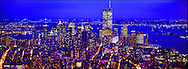 Historic Panoramic Photograph of an Aerial View of New York City with The Twin Towers at Dusk in all Natural Light with City Lights, with shades of Blues and Magenta of City Lights
