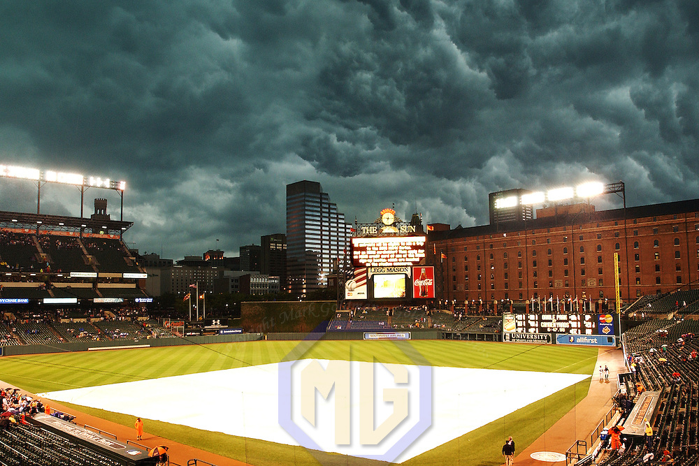 31 May 2003:  Storm clouds gather over the home field of the Baltimore Orioles, Orioles Park at Camden Yards prior to a game in Baltimore, Maryland.