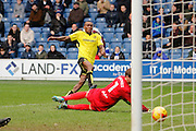 Burton Albion midfielder Lloyd Dyer (11) scores for Burton Albion to make the score 2-0 during the EFL Sky Bet Championship match between Queens Park Rangers and Burton Albion at the Loftus Road Stadium, London, England on 28 January 2017. Photo by Richard Holmes.