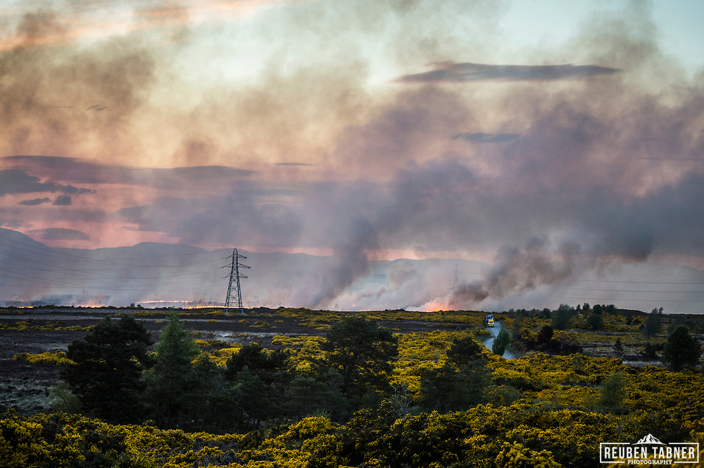 A wild fire, reportedly affecting an area of about 2.5 sq km. rages above Inverness in the Scottish Highlands, less than 5km from the city centre. Firefighters had to work throughout the night to bring the blaze under control.<br /> <br /> The wildfire has come during a period of about two weeks of dry weather in the Highlands, and is one of a number of such incidents in the region.