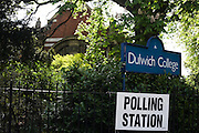 The Library at Dulwich College in south London that serves as a temporary Polling station for voters on Britain's general election day.