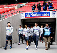 Photo: Alan Crowhurst.<br />England training session at Wembley Stadium. 21/03/2007. England captain John Terry leads his team out.