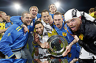 Onderwerp/Subject: Cambuur Leeuwarden - Jupiler League<br /> Reklame:  <br /> Club/Team/Country: <br /> Seizoen/Season: 2012/2013<br /> FOTO/PHOTO: F.L.T.R: Sicco BOUWER of Cambuur Leeuwarden and Marco VAN DER HEIDE of Cambuur Leeuwarden and Adnane TIGHADOUINI of Cambuur Leeuwarden and Tim BAKENS of Cambuur Leeuwarden and Johnny DE VRIES of Cambuur Leeuwarden and Tim KEURNTJES of Cambuur Leeuwarden and Goalkeeper Leonard NIENHUIS of Cambuur Leeuwarden celebrating Jupiler League Championship and promotion to Eredivisie with the Trophy. (Photo by PICS UNITED)<br /> <br /> Trefwoorden/Keywords: <br /> #02 #18 $94 &plusmn;1367598354739<br /> Photo- &amp; Copyrights &copy; PICS UNITED <br /> P.O. Box 7164 - 5605 BE  EINDHOVEN (THE NETHERLANDS) <br /> Phone +31 (0)40 296 28 00 <br /> Fax +31 (0) 40 248 47 43 <br /> http://www.pics-united.com <br /> e-mail : sales@pics-united.com (If you would like to raise any issues regarding any aspects of products / service of PICS UNITED) or <br /> e-mail : sales@pics-united.com   <br /> <br /> ATTENTIE: <br /> Publicatie ook bij aanbieding door derden is slechts toegestaan na verkregen toestemming van Pics United. <br /> VOLLEDIGE NAAMSVERMELDING IS VERPLICHT! (&copy; PICS UNITED/Naam Fotograaf, zie veld 4 van de bestandsinfo 'credits') <br /> ATTENTION:  <br /> &copy; Pics United. Reproduction/publication of this photo by any parties is only permitted after authorisation is sought and obtained from  PICS UNITED- THE NETHERLANDS