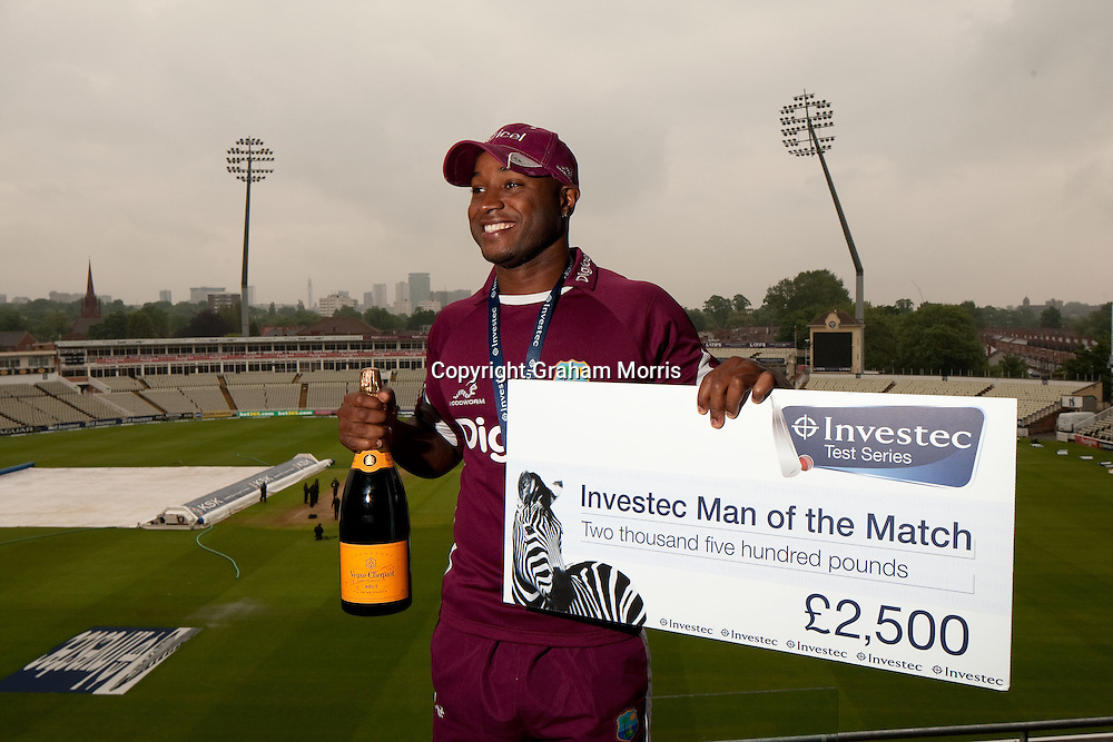 Man of the Match, West Indies' Tino Best, after drawing the Investec Test Match against England at Edgbaston, Birmingham. Photo: Graham Morris (Tel: +44(0)20 8969 4192 Email: sales@cricketpix.com) 11/06/12