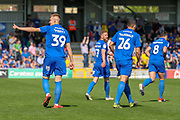 AFC Wimbledon striker Joe Pigott (39) giving a thumbs up after scoring during the EFL Sky Bet League 1 match between AFC Wimbledon and Bristol Rovers at the Cherry Red Records Stadium, Kingston, England on 19 April 2019.