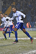 Bury Forward, Leon Clarke urges the fans to get behind Bury during the Sky Bet League 1 match between Bury and Walsall at Gigg Lane, Bury, England on 16 January 2016. Photo by Mark Pollitt.