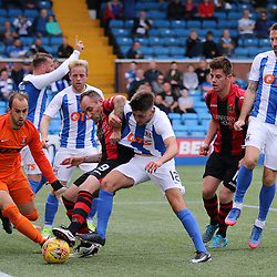 Greg Taylor just gets to the ball first before Mark Stewart  during the Kilmarnock v Dumbarton Betfred Cup Group E  29nd July 2017 <br /> <br /> <br /> <br /> <br /> (c) Andy Scott | SportPix.org.uk