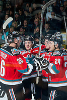 KELOWNA, CANADA - OCTOBER 31: Gordie Ballhorn #4, Cole Linaker #26, Kole Lind #16 and Tyson Baillie #24 of Kelowna Rockets celebrate a goal against the Lethbridge Hurricanes on October 31, 2015 at Prospera Place in Kelowna, British Columbia, Canada.  (Photo by Marissa Baecker/Shoot the Breeze)  *** Local Caption *** Gordie Ballhorn; Cole Linaker; Kole Lind; Tyson Baillie;