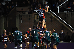 Max Cresswell of Bristol United claims the ball in a line-out - Mandatory by-line: Paul Knight/JMP - 22/09/2017 - RUGBY - Clifton RFC - Bristol, England - Bristol United v London Irish 'A' - Aviva A League