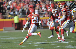 Oct 25, 2015; Kansas City, MO, USA; Kansas City Chiefs free safety Eric Berry (29) intercepts a pass and runs for short yardage during the second half against the Pittsburgh Steelers at Arrowhead Stadium. The Chiefs won 23-13. Mandatory Credit: Denny Medley-USA TODAY Sports