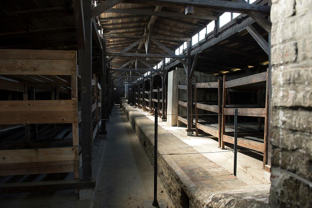 09 APR 2012, KRAKOW/POLAND:<br /> Blick in eine restaurierten Holz-Barake, Staatliches polnisches Museum / Gedenkstaette des ehem. Konzentrationslager Ausschitz-Birkenau<br /> IMAGE: 20120409-01-054<br /> KEYWORDS: Krakau, KZ, Vernichtungslagers Auschwitz II–Birkenau, Polen
