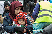 March 1, 2016 - Athens, Greece - <br /> <br /> A armen woman comforts her injured son on a beach shortly after they arrived with other migrants and refugees on the Greek island of Lesbos, after crossing the Aegean sea from Turkey<br /> ©Exclusivepix Media