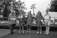 Adult Fancy Dress left to right; 4th Jean Walker, Thurcroft; 3rd Sheila Close, Thurcroft; 2nd Brenda Gray & Rose Mounsey Brodsworth; 1st Jane Cook, Grimethorpe. 1988 Yorkshire Miner's Gala. Wakefield.