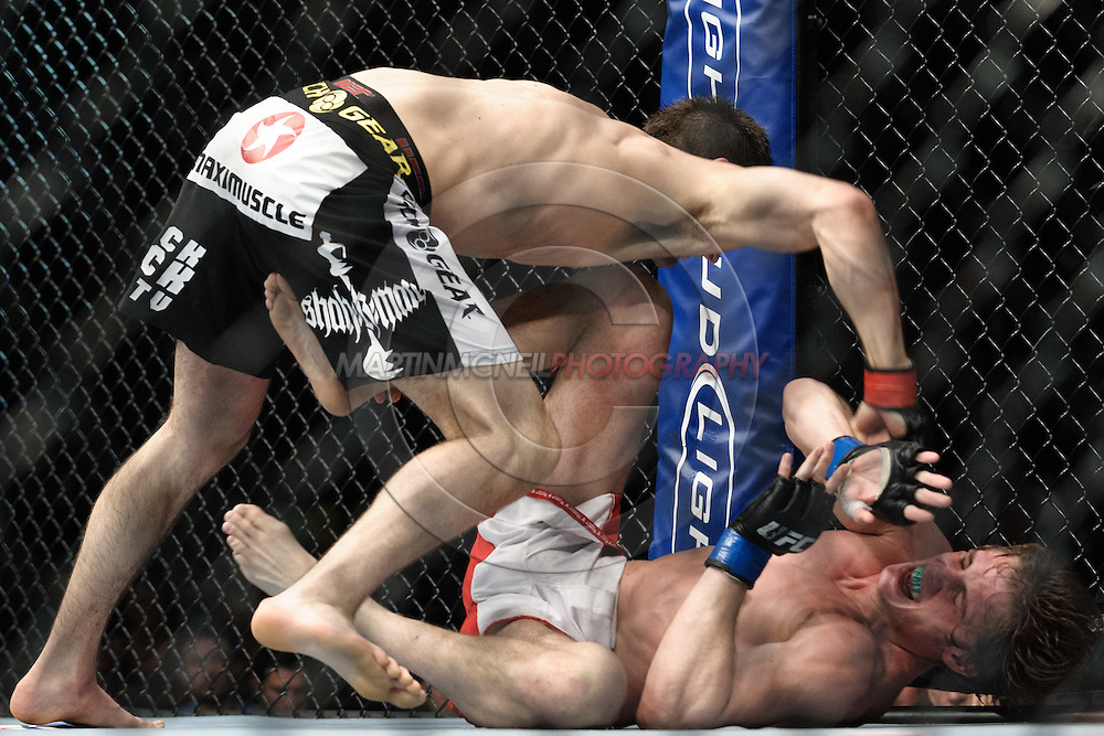 """MANCHESTER, ENGLAND, NOVEMBER 14, 2009: Nick Osipczak (top) and Matthew Riddle during """"UFC 105: Couture vs. Vera"""" inside the MEN Arena in Manchester, United Kingdom."""