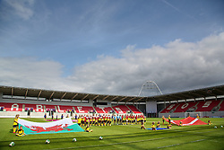 19.08.2013, Parcy Scarlets, Swansea, ENG, UEFA Damen U19 EM, Wales vs Daenemark, Gruppe A, im Bild Wales and Denmark line-up before the opening Group A match of the UEFA Women's Under-19 Championship Wales 2013 tournament at Parc y Scarlets during the UEFA women U 19 championchip group A match between Wales and Denmark at Parcy Scarlets in Swansea, Great Britain on 2013/08/19. EXPA Pictures © 2013, PhotoCredit: EXPA/ Propagandaphoto/ David Rawcliffe<br /> <br /> ***** ATTENTION - OUT OF ENG, GBR, UK *****