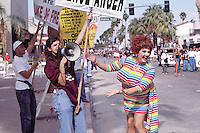 Members of the Westboro Baptist Church protest at the Gay Pride Parade in Palm Springs California in 2003.
