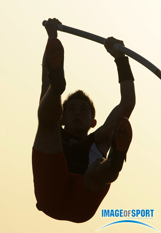 Apr 7, 2012; Arcadia, CA, USA; Silhouette of boys pole vault winner Peter Chapman of Murrieta Valley at the Arcadia Invitational at Arcadia High.