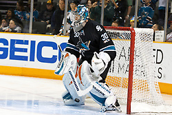 November 15, 2010; San Jose, CA, USA;  San Jose Sharks goalie Antero Niittymaki (30) warms up before the game against the Los Angeles Kings at HP Pavilion. Mandatory Credit: Jason O. Watson / US PRESSWIRE
