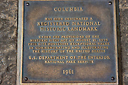 The National Historic Landmark Plaque at Columbia, Highway 49, Gold Country, California