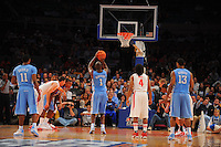 North Carolina guard/forward Marcus Ginyard #1 shoots a free-throw against the Ohio State Buckeyes during the 2K Sports Classic at Madison Square Garden. (Mandatory Credit: Delane B. Rouse/Delane Rouse Photography)